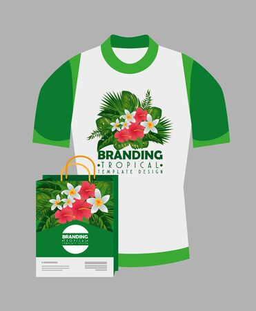 fashion shirt product with bag and tropical style vector illustration