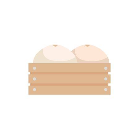 melons in wooden box icon vector illustration design