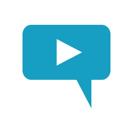 speech bubble message with media player button vector illustration design