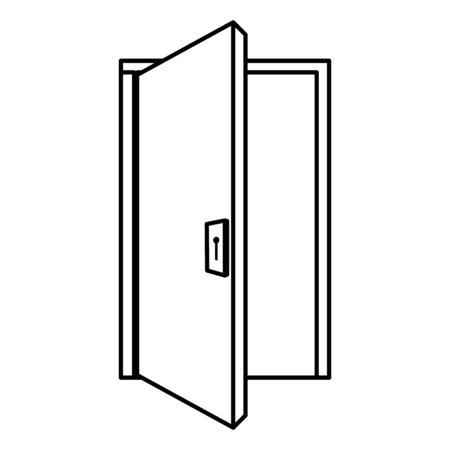 Puerta de la casa de madera, diseño de ilustraciones vectoriales icono aislado