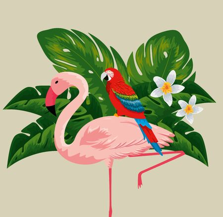 parrot in the flemish with flowers plants and leaves vector illustration