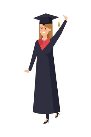 young woman student graduated celebrating vector illustration design Banque d'images - 133147644