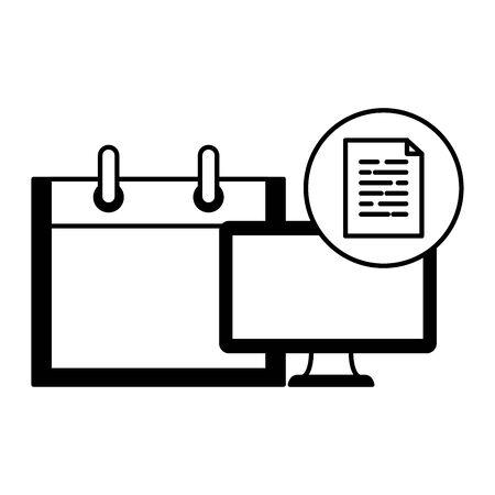 desktop computer device with document file vector illustration design Ilustração