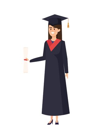 young woman student graduated with diploma vector illustration design Banque d'images - 133147731