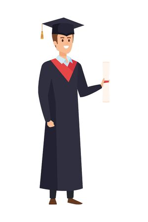young man student graduated with hat vector illustration design Banque d'images - 133147754