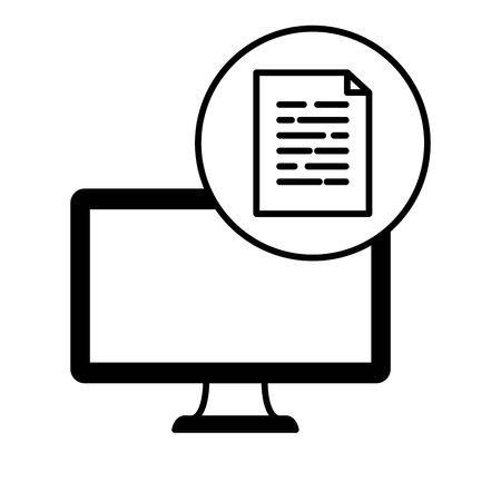 desktop computer device with document file vector illustration design Illusztráció