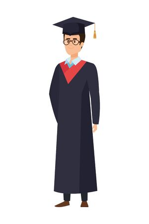 young man student graduated with glasses vector illustration design Banque d'images - 133147762