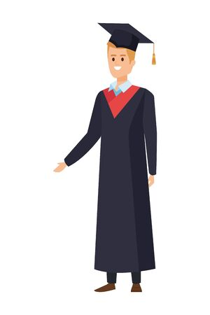 young man student graduated with hat vector illustration design Banque d'images - 133147772