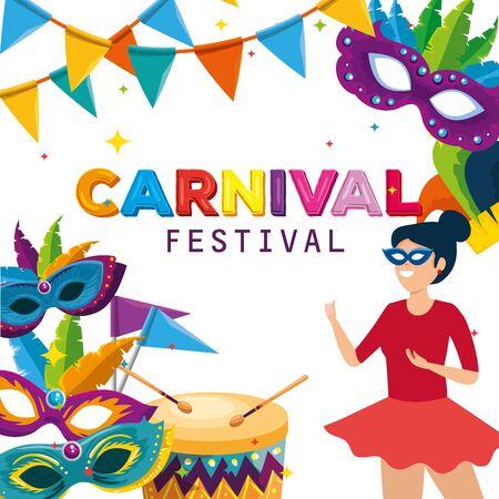 Frauentänzerkostüm mit Masken und Trommel zur Karnevalsfeier-Vektorillustration Vektorgrafik