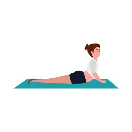 beauty woman practicing pilates position in mattress vector illustration design Иллюстрация