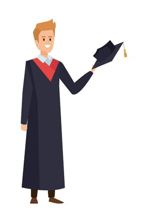 young man student graduated with hat vector illustration design Banque d'images - 133148475