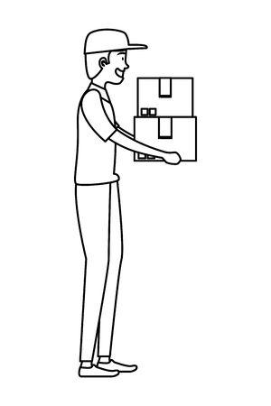 worker of delivery service lifting carton box vector illustration design Illustration