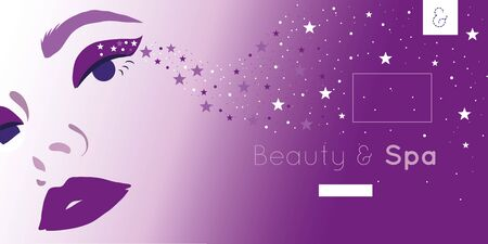 beauty and spa card with woman and stars vector illustration design