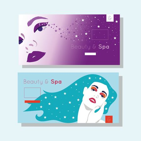bundle of beauty and spa cards with woman figures vector illustration design Stock Illustratie