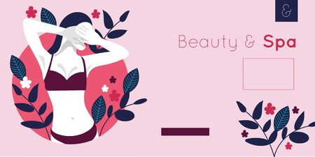 beauty and spa card with woman and leafs plant vector illustration design Stock Illustratie