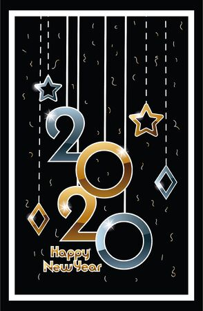 happy new year 2020 celebration label with numbers hanging vector illustration design Illustration