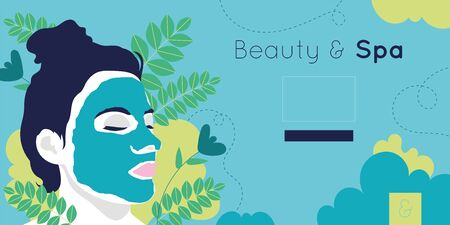 beauty and spa card with woman and leafs plant vector illustration design Banque d'images - 133149846