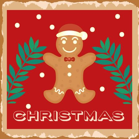 happy merry christmas card with ginger cookie doll vector illustration design