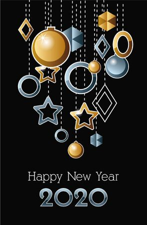 happy new year 2020 celebration label with balls hanging vector illustration design