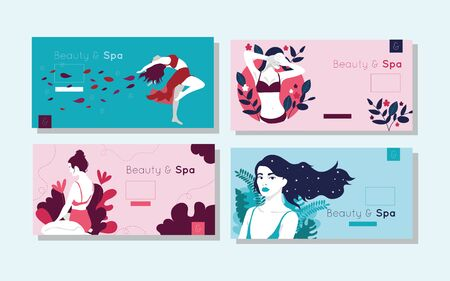 bundle of beauty and spa cards with woman figures vector illustration design Banque d'images - 133149849