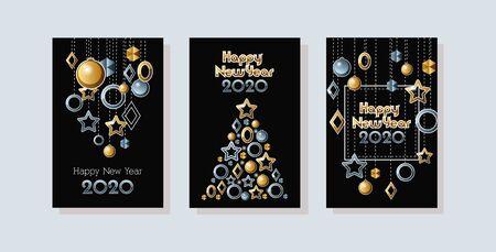happy new year 2020 celebration set cards vector illustration design