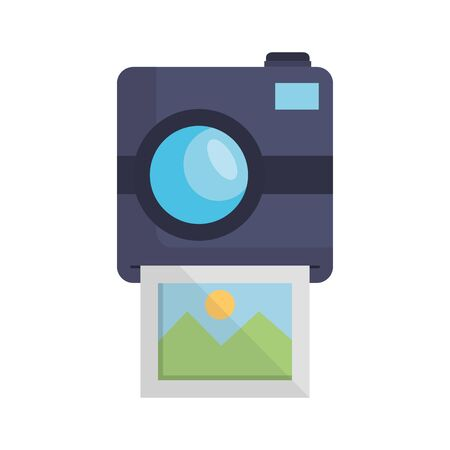 photographic camera with picture snapshot vector illustration design