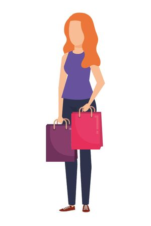 young woman lifting shopping bags character vector illustration design Stock Illustratie