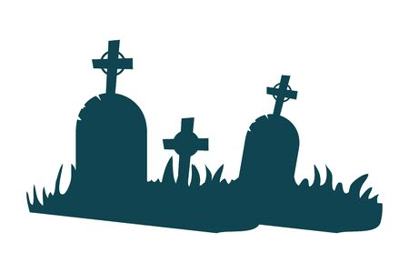 halloween tombs of cemetery scene vector illustration design