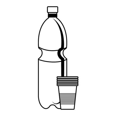 plastic bottle recycle with plastic cups vector illustration design