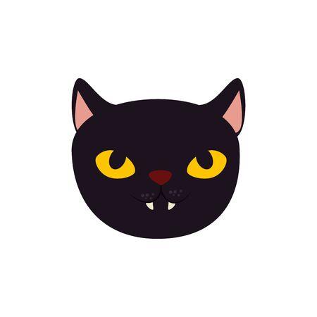 Visage de chat noir halloween icône isolé vector illustration design