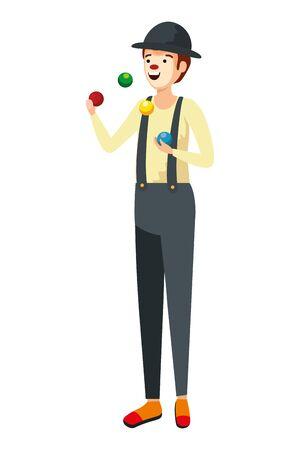 circus clown juggling balls comic character vector illustration design