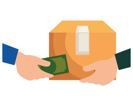 hands negotiating with box and money delivery service vector illustration design