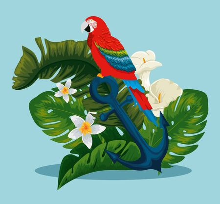 parrot in the anchor with exotic flowers and leaves vector illustration