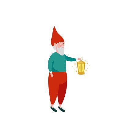 dwarf with kerosene lantern fairytale isolated icon vector illustration design