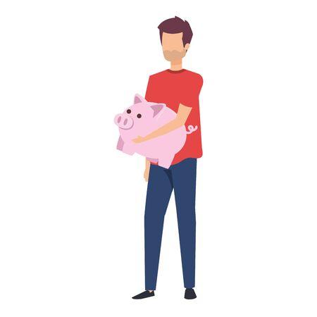 young man lifting piggy savings character vector illustration design