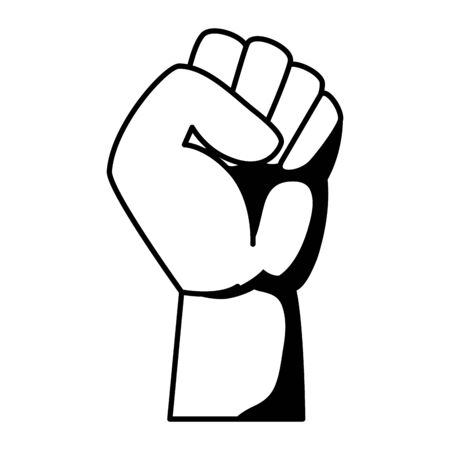 hand human fist power fighter vector illustration design Çizim