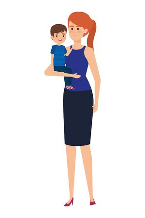 beautiful mother with little boy characters vector illustration design Standard-Bild - 133151433
