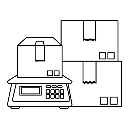 boxes carton packing with digital balance vector illustration design