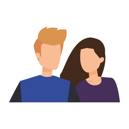 young couple lovers avatars characters vector illustration design Standard-Bild - 133151468