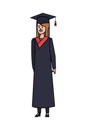 young woman student graduated character vector illustration design Banque d'images - 133151487