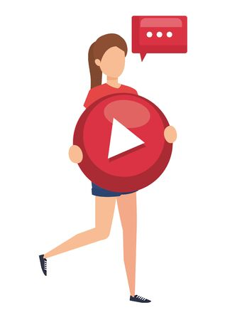 woman lifitng play button with speech bubble vector illustration design
