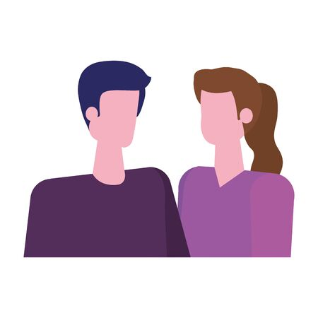 young lovers couple avatars characters vector illustration design Standard-Bild - 133151561