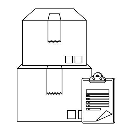 boxes carton with checklist delivery service vector illustration design Иллюстрация