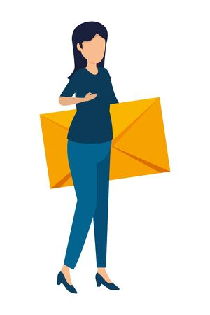 young woman lifting envelope mail vector illustration design