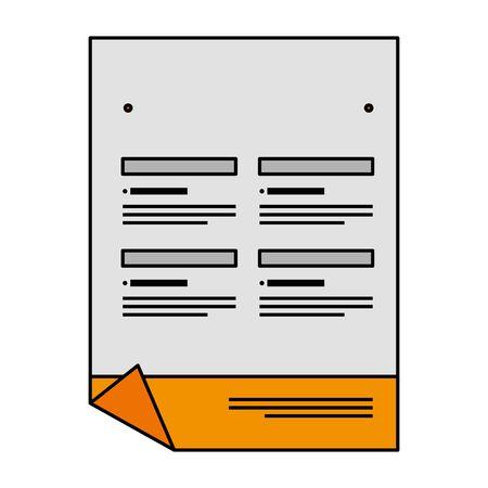 paper document with company emblem print vector illustration design
