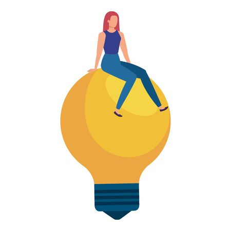 cute young woman sitting in light bulb vector illustration design 일러스트