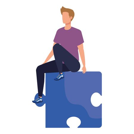 young man sitting in puzzle piece vector illustration design 일러스트