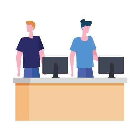 men working in desk with computers vector illustration design 일러스트