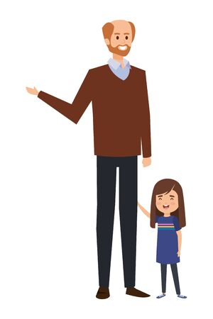 adult father bald with beard and daughter vector illustration design 일러스트