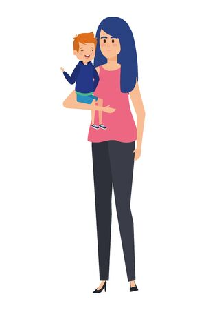 beautiful mother with little boy characters vector illustration design Standard-Bild - 133151832